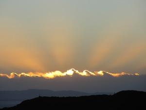 Lever de soleil dans le salar d'Uyuni, décembre 2011