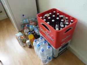 Caisses de bière et bouteilles à recycler, pas de doute, nous sommes bien en Allemagne!