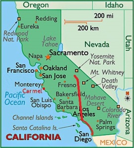 Notre itinéraire (source : http://www.uniterre.com/guides-voyage/etats+unis/californie/)