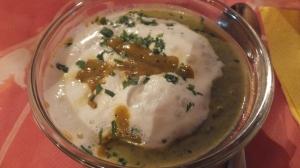 Petite soupe, émulsion de crème au QG