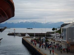 Arrivée à Molde –en arrière-plan, les Alpes de Romsdal