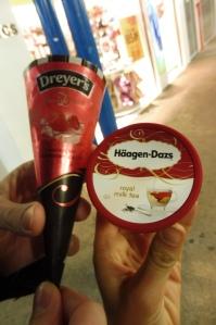 """Test de nouvelles glaces, notamment le parfum """"thé au lait""""... très bon !"""