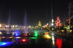 Son et lumières au pied de la grande pagode de l'oie sauvage