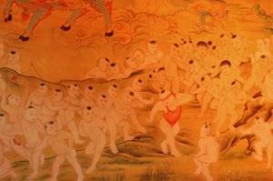 Et pour clôturer cette série chinoise, la danse des bébés tous nus ! (vu dans un temple à Xian)