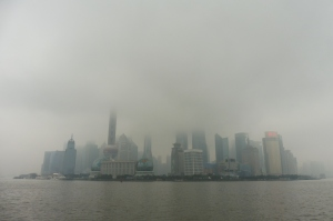 La vue sur Pudong depuis le Bund dépend de la météo...