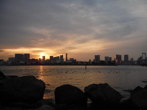 Goûter face au port de Tokyo :-)