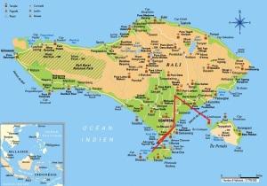 Notre itinéraire à Bali - cliquez sur l'image pour l'agrandir