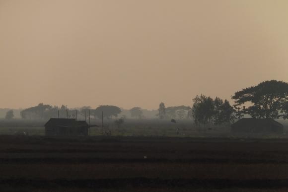 Fin de journée sur la campagne birmane