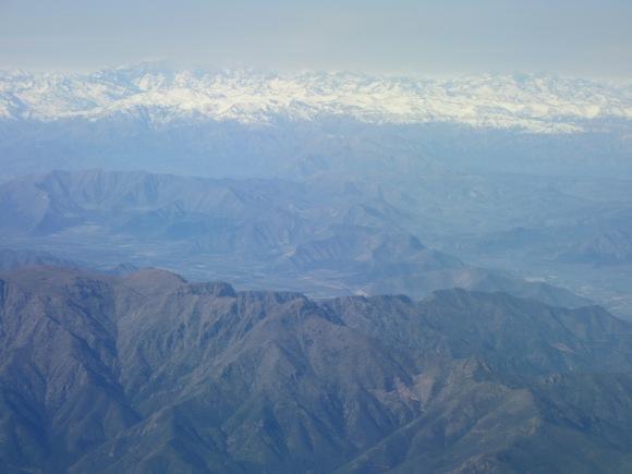 Survol des Andes en arrivant au Chili